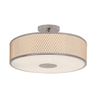Diamond Grill 4 Light 20 inch Polished Chrome Semi-Flush Mount Ceiling Light