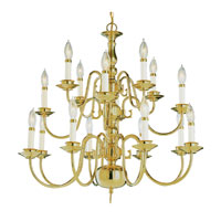 Trans Globe Williamsburg 16 Light Chandelier in Polished Brass 1016-1-PB