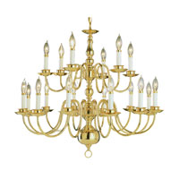 Trans Globe Lighting 1018-1-PB Williamsburg 18 Light 32 inch Polished Brass Chandelier Ceiling Light photo thumbnail