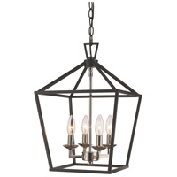 Lacey 4 Light 12 inch Polished Chrome and Black Pendant Ceiling Light