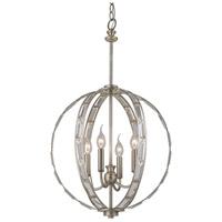 Trans Globe Lighting 10364-ASL Signature 4 Light 17 inch Antique Silver Leaf Pendant Ceiling Light