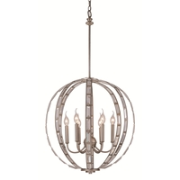 Signature 6 Light 20 inch Antique Silver Leaf Pendant Ceiling Light