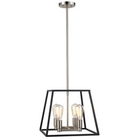 Trans Globe Lighting 10464-BK/BN Adams 4 Light 15 inch Black and Brushed Nickel Pendant Ceiling Light