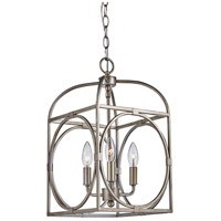 Academy 3 Light 10 inch Antique Silver Leaf Pendant Ceiling Light