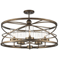 Trans Globe Lighting 10523-ASL Altadena 5 Light 26 inch Antique Silver Leaf Semiflush Ceiling Light