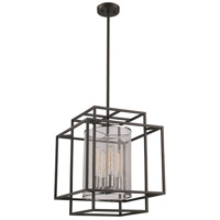 Empire 4 Light 17 inch Black and Polished Chrome Pendant Ceiling Light