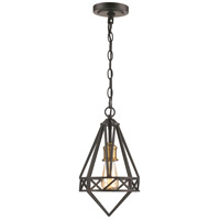 Premiere 1 Light 8 inch Black and Antique Brass Pendant Ceiling Light