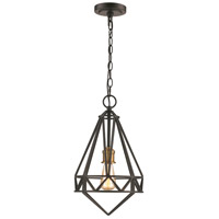 Premiere 1 Light 10 inch Black and Antique Brass Pendant Ceiling Light