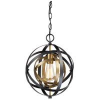 Trans Globe Lighting 10790-AG/BK Monrovia 1 Light 12 inch Antique Gold and Black Pendant Ceiling Light
