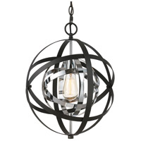 Trans Globe Lighting 10790-PC/BK Monrovia 1 Light 12 inch Polished Chrome and Black Pendant Ceiling Light