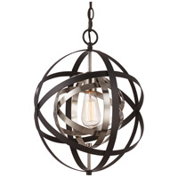 Trans Globe Lighting 10790-ROB/ASL Monrovia 1 Light 12 inch Rubbed Oil Bronze and Antique Silver Leaf Pendant Ceiling Light