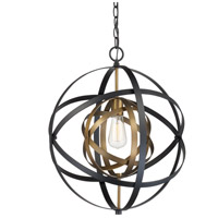 Trans Globe Lighting 10791-AG/BK Monrovia 1 Light 18 inch Antique Gold and Black Pendant Ceiling Light