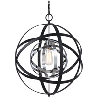 Trans Globe Lighting 10791-PC/BK Monrovia 1 Light 18 inch Polished Chrome and Black Pendant Ceiling Light