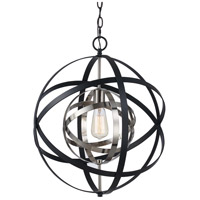 Trans Globe Lighting 10791-ROB/ASL Monrovia 1 Light 18 inch Rubbed Oil Bronze and Antique Silver Leaf Pendant Ceiling Light