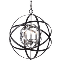 Trans Globe Lighting 10793-PC/BK Monrovia 3 Light 22 inch Polished Chrome and Black Pendant Ceiling Light