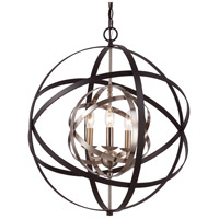 Monrovia 3 Light 22 inch Rubbed Oil Bronze and Antique Silver Leaf Pendant Ceiling Light