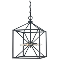 Donovan 4 Light 12 inch Brushed Nickel and Black Pendant Ceiling Light