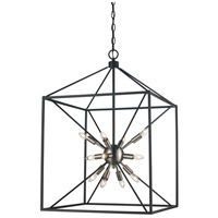 Donovan 12 Light 20 inch Brushed Nickel and Black Pendant Ceiling Light