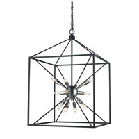 Donovan 12 Light 20 inch Polished Chrome and Black Pendant Ceiling Light