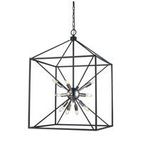 Trans Globe Lighting 10809-PC/BK Donovan 12 Light 20 inch Polished Chrome and Black Pendant Ceiling Light