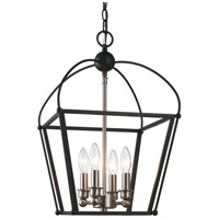 Trans Globe Lighting 10814-BK/BN Agnew 4 Light 12 inch Black and Brushed Nickel Pendant Ceiling Light