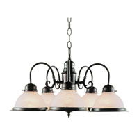 Basics 5 Light 23 inch Rubbed Oil Bronze Chandelier Ceiling Light