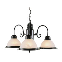 Basics 3 Light 19 inch Rubbed Oil Bronze Chandelier Ceiling Light