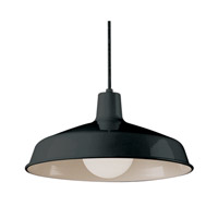 Vintage 1 Light 16 inch Black Pendant Ceiling Light in Black Metal Downward Bell