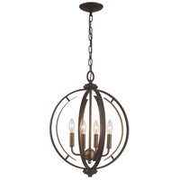 Trans Globe Lighting 11064-ROB/AG Chesterfield 4 Light 16 inch Rubbed Oil Bronze and Antique Gold Pendant Ceiling Light