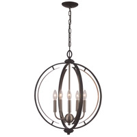 Trans Globe Lighting 11065-BK/BN Chesterfield 5 Light 20 inch Black and Brushed Nickel Pendant Ceiling Light