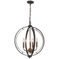 Trans Globe Lighting 11065-ROB/AG Chesterfield 5 Light 20 inch Rubbed Oil Bronze and Antique Gold Pendant Ceiling Light