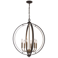 Trans Globe Lighting 11066-ROB/AG Chesterfield 6 Light 24 inch Rubbed Oil Bronze and Antique Gold Pendant Ceiling Light