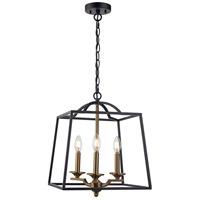 Trans Globe Lighting 11073-BK/AG Georgianna 3 Light 15 inch Black and Antique Gold Pendant Ceiling Light