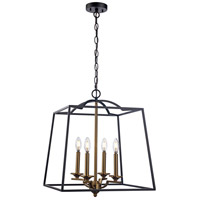 Trans Globe Lighting 11074-BK/AG Georgianna 4 Light 19 inch Black and Antique Gold Pendant Ceiling Light