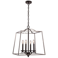Trans Globe Lighting 11074-PC/BK Georgianna 4 Light 19 inch Polished Chrome and Black Pendant Ceiling Light