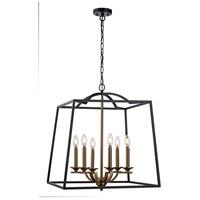 Trans Globe Lighting 11076-BK/AG Georgianna 6 Light 23 inch Black and Antique Gold Pendant Ceiling Light