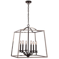 Trans Globe Lighting 11076-PC/BK Georgianna 6 Light 23 inch Polished Chrome and Black Pendant Ceiling Light