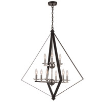 Trans Globe Lighting 11089-BK/PC Glacier 6 Light 33 inch Black and Polished Chrome Pendant Ceiling Light