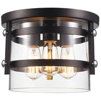 Trans Globe Lighting 14210-BK/PC Anderson 3 Light 12 inch Black and Polished Chrome Flushmount Ceiling Light
