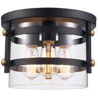 Trans Globe Lighting 14210-ROB/AG Anderson 3 Light 12 inch Rubbed Oil Bronze and Antique Gold Flushmount Ceiling Light