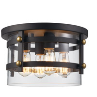 Trans Globe Lighting 14211-ROB/AG Anderson 4 Light 14 inch Rubbed Oil Bronze and Antique Gold Flushmount Ceiling Light