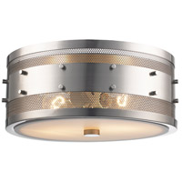 Trans Globe Lighting 14311-BN Column 2 Light 13 inch Brushed Nickel Flushmount Ceiling Light
