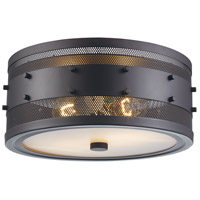 Trans Globe Lighting 14311-ROB Column 2 Light 13 inch Rubbed Oil Bronze Flushmount Ceiling Light