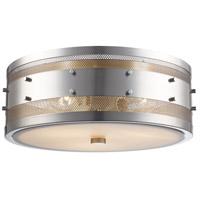 Trans Globe Lighting 14312-BN Column 3 Light 15 inch Brushed Nickel Flushmount Ceiling Light