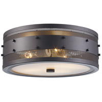 Trans Globe Lighting 14312-ROB Column 3 Light 15 inch Rubbed Oil Bronze Flushmount Ceiling Light