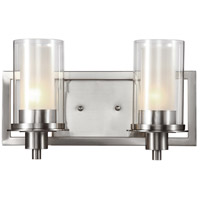 Nickel Square 2 Light 14 inch Brushed Nickel Wall Sconce Wall Light