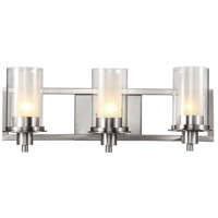 Nickel Square 3 Light 22 inch Brushed Nickel Vanity Light Wall Light