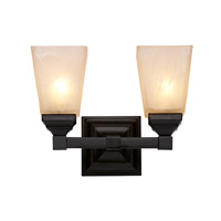 Trans Globe Mission Hall 2 Light Bath Bar in Black 20332-BK