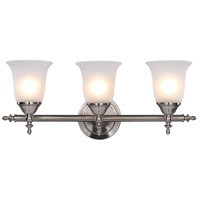 Gassaway 3 Light 22 inch Brushed Nickel Vanity Bar Wall Light