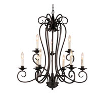 Trans Globe Lighting New Century 9 Light Chandelier in Rubbed Oil Bronze 21059-1-ROB